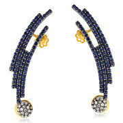 3.16ct Sapphire Diamond 18kt Gold 925 Sterling Silver Cuff Earrings Gift Jewelry
