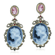 18k Gold Silver Diamond Carving Gemstone Ruby Sapphire Womenand039s Dangle Earrings