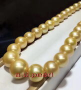 Aaaaa 1713-16mm Natural Real South Sea Yellow Golden Pearl Necklace 14k Gold