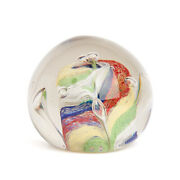 Vintage Glass Colour Swirl Paper Weight 20th C.