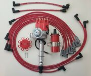 Chevy 327 350 Small Hei Distributor + Red 45k Coil + 8.5mm Wires Under Exhaust