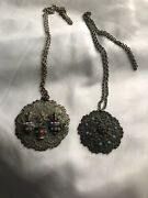2 Vintage Silver Turquoise Coral Bead Etuscan Necklaces