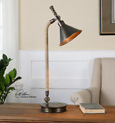 Duvall Task 28 Aged Metal Table Lamp Stained Rope Desk Light Adjustable Shade