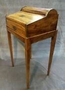 1820 Camphor Wood Tambour Sea Captain's Campaign Roll Top Desk On Stand