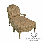 French Louis Xv Style Vintage 1960and039s Paint Frame Bergere Chair With Ottoman