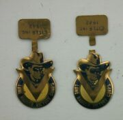 Two 1942 Lone Ranger Victory Corps Tab Brass Badge Radio Show