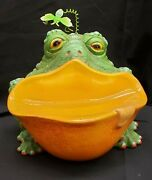 Morgue Sale Frog Collector Candy Dish By 180 Degrees Mint Retired