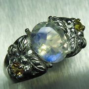 1.7ct Natural Rainbow Moonstone And Sapphires 925 Silver/ Gold / Platinum Ring