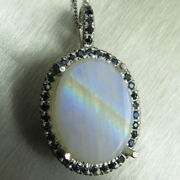 11.35ct Natural Rainbow Moonstone Andsapphire 925 Sterling Silver /gold Pendant