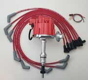 Ford Small Block 289 302 Hei Distributor + Red 8.5mm Spiral Spark Plug Wires Usa