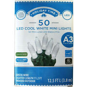 Holiday Time 50 Led Cool White Mini Lights Green Wire Christmas Wedding Decor