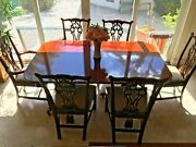 Formal Wood Dinning Room Table 72x46 With 3 Extension Leaves Pads And 6 Chairs