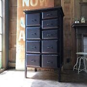 Antique Railroad Drawer Unit, Industrial Apothecary Cabinet Antique Wood Dresser
