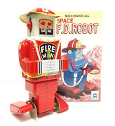 Brand New Ha Ha Toy Ms652 Mechanical Space F.d. Wind Up Tin Robot Mint
