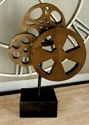 Metal Movie Reel Accent Decor Office Desk Table Sculpture Theater Media Film New