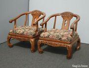 Pair Oriental Chinese Chinoiserie Oak Horseshoe Accent Chairs By Schnadig