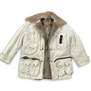 Vintage Dolce And Gabanna Aw03 White Fur Hunting Jacket 50