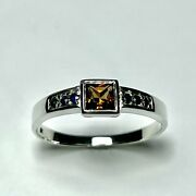 0.8ct Natural Imperial Topaz And Blue Sapphires 925 Silver /9ct 14k 18k Gold Ring