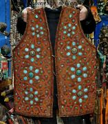 Old Tibetan Cloth Hand Made Inlay Bronze Coral Turquoise Lama Monk Clothing Vest