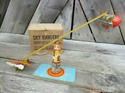Vintage Unique Art Sky Rangers Lithograph Tin Wind Up Toy W/ Box Zeppelin Works