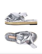New No. 21 Silver Gold Metallic Snakeskin Leather Knot Sandals Slides Size 36