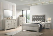 4 Pc Metallic Tufted Charcoal Grey Leatherette King Bed Ns Dresser Furniture Set