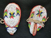Native American Beaded Childs Leather Moccasins, Traditional Design  Atl-03541