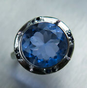 6.4ct Natural Colour Change Fluorite 925 Silver/ Platinum/ Gold Ring