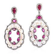 2.47ct Pave Diamond Ruby Gemstone Carved Dangle Earrings 18k Gold Silver Jewelry