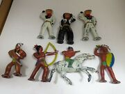Barclay Vintage 7-piece Toy Set Metal Cowboy And Indian Figures
