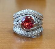 14k White Gold Wide Ring Certified 3.72ct Diamond And Orange Padparadscha Sapphire