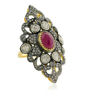 4.18ct Ruby Rose Cut Diamond 14kt Solid Yellow Gold Ring Sterling Silver Jewelry
