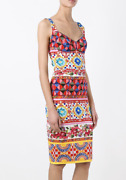 Dolce And Gabbana Mambo Fitted Dress Size 38 Silk 100 Authentic