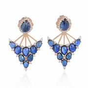 18kt Solid Rose Gold Pave Diamond 6.0ct Blue Sapphire Ear Jacket Fashion Jewelry