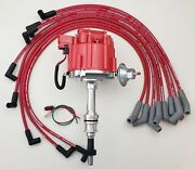 Ford Small Block 351w Windsor Hei Distributor + Red 8.5mm Spark Plug Wires Usa