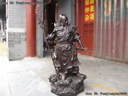 Chinese Red Bronze Dragon Guanyu Hold Broadsword Guan Gong Warrior God Statue