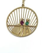 Vintage French 18k Yellow Gold Love Birds Ruby Emerald Pendant