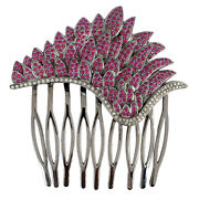Memorial Day Gift Hair Combandnbsp Head Jewelry Ruby Diamond Silver Jewelry Own-8-s