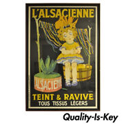 Huge Original 1920s French Art Deco Poster Land039alsacienne Teint And Ravive Ch Roux