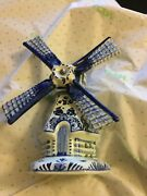 Exc Cond Delft Holland Blue/white Hand-painted Windmill-shaped Bedside Lamp 10andrdquot