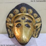 Tibet India Folk Fane Monastery Old Red Copper Gold Gilt Animal Face Head Mask A