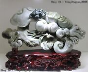 Chinese Natural Dushan Jade Bring Wealth Toad Peach Chayote Ruyi Fengshui Statue