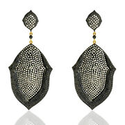 10.02ct Pave Diamond Dangle Earrings 18kt Gold Sterling Silver Designer Jewelry