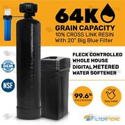 Pentair Fleck Controlled Whole House Digital Water Softener System 64k Grains