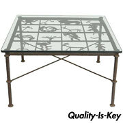 Metal And Glass Square Brutalist Coffee Table With Native American Glyph Figures