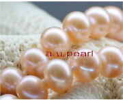 Long Aaaaa 3512-14mm Real Natural South Sea Gold Pink Pearl Necklace 14k Gold