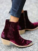 Free People X Jeffrey Campbell Barbary Red Velvet Ankle Boots 36 6 Rare 298