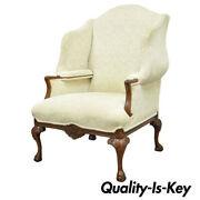Oversized Carved Mahogany Ball And Claw Chippendale Style Wingback Arm Chair