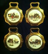 Set Of 4 Vintage Four-in-hand Horse And Carriage Porcelain Brasses Wow Your Walls