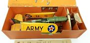 Very Rare 1935 Tin And Paper Military Airplane Mint Boxed Windup Frog England